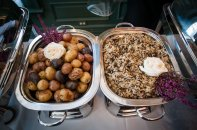 Roasted New Potatoes and Wild Mushroom Rice by Carriage House Caterers
