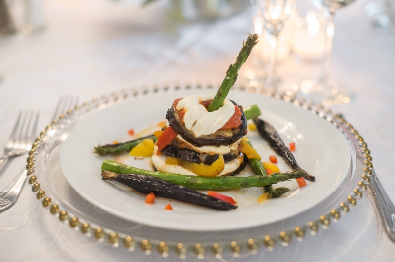 vegan entree with asparagus, peppers, eggplant