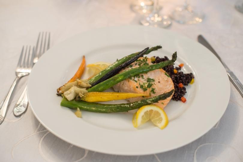 plated dinner salmon with asparagus
