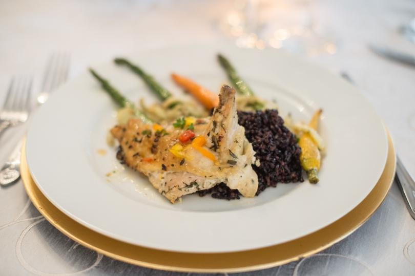 plated chicken asparagus dinner