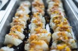 tray of scallops with mango relish