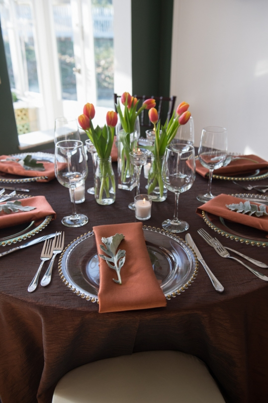 earth tones with tulips table setting