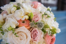 pastel roses with pops of greenery
