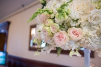 pastel roses with hydrangia and greenery