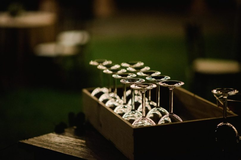 wine glasses set up in a box